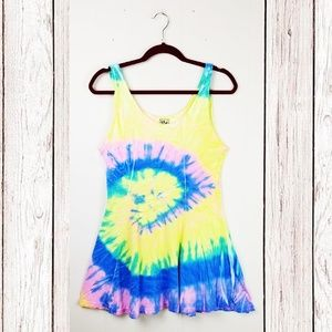 Vintage | Rainbow Tie Dye Fit & Flare Dress